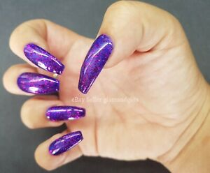 24 Hand Painted Gel False Nails Jelly Purple Glitter Coffin Stiletto Square Oval