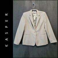 Kasper Women Career Formal Blazer Jacket Suit Lined Size 8P Beige