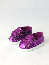 """Purple Glitter Sneakers Fits 18"""" American Girl Doll Clothes Shoes"""