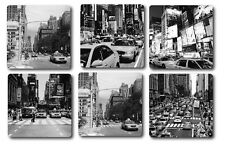 NEW YORK DESIGN COASTERS - HIGH QUALITY - SET OF 6 - BLACK AND WHITE