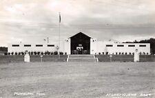 Atlantic Iowa~Municipal Pool~Front Steps Up to Bath House~Gravel Drive~1940 RPPC