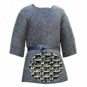 Medieval 6 mm Chain Mail Shirt Round Riveted With Washer Chainmail XL Size