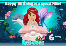 mermaid dolphin personalised A5 birthday card mum sister daughter friend age