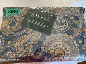 Ralph Lauren King Duvet Set 3 pcs Blue/Tan Paisley