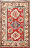 Geometric RED Super Kazak Oriental Area Rug Hand-Knotted WOOL Foyer Carpet 2'x3'
