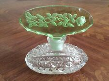 Antique Crystal 1920's Green & Clear Perfume Bottle, gl136 ANTIQUE GIFT IDEA!!