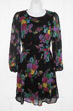 Topshop Negro floral de manga larga vestido de té de espalda abierta talla 8