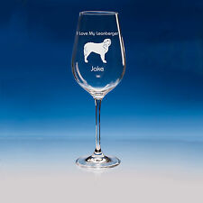 More details for leonberger dog lover gift personalised hand engraved wine glass: birthday gift