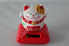 Japanese Solar Feng Shui Inviting Fortune Swing Maneki Neko Waving Paw Lucky Cat