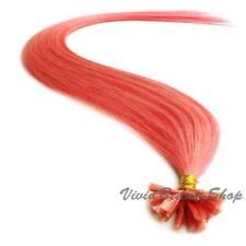 "25 Pink Pre Glue Bond U Nail Tip Keratin Fusion Remy Human Hair Extensions 22"""