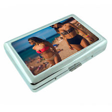Beach Pin Up Girls D20 Silver Metal Cigarette Case RFID Protection Wallet