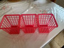 Pink Plastic Baskets X 3