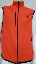 Polo Ralph Lauren L Performance Mens Sleeveless Fleece Full Zip Sweater Orange