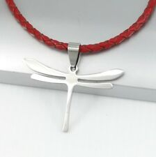 Silver Stainless Steel Insect Dragonfly Pendant 3mm Braided Red Leather Necklace