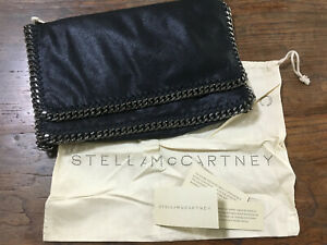 STELLA MCCARTNEY Black Vegan Leather Falabella Clutch Bag + Dustbag