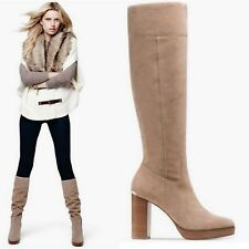 Michael Kors Regina Platform DK Khaki Suede Leather Women's Boots  Size 11 New