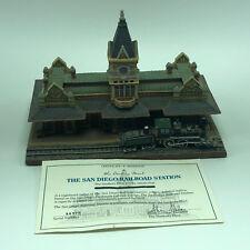Danbury Mint Railroad Station Trains figurine sculpture box coa San Diego statue