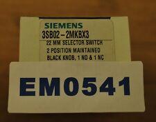 Siemens 3SB02-2MKBX3 22mm Selector Switch 2 Position Maintained Black Knob - NIB
