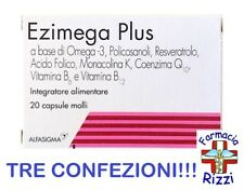 EZIMEGA PLUS 20 CAPSULE INTEGRATORE OMEGA 3 MONACOLINA TRE CONFEZIONI!!!