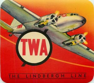 The LINDBERGH Line ~TWA~ Vibrant Old Airline Luggage Label, c 1955  ORIGINAL