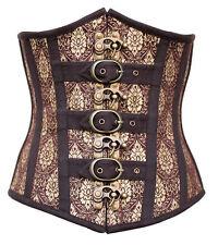 Serre-taille,corset,brown  marron et doré avec sangles steampunk XS