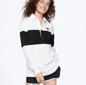 PINK Victoria's Secret Rugby Stripe Ls Polo Shirt M