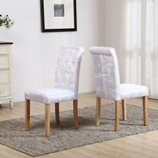 Crushed Velvet Button High Back Roll Top Seat Dining Room Chairs Wooden Oak Legs