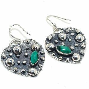 "Malachite Gemstone Handmade 925 Silver Jewelry Earring 1.58"""