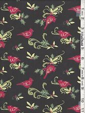 Black Christmas Cardinal Swirl with Holly by Springs Creative bty