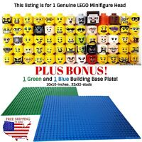 1 LEGO Minifigure Head PLUS BONUS! 1-Green and 1-Blue 10x10-inch 32x32 baseplate