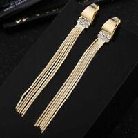 Rhinestone Earrings Drop Chain Gold Metal Tassel Crystal Tone Long Women Dangle