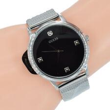 Guess Damen Herren Uhr mit Diamant W0280G1 Wafer Milanaise Silber Armband