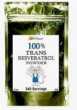 100% PURE TRANS RESVERATROL POWDER Highest Purity 240 Serving 60g 4 Month Supply