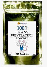 ~100% PURE TRANS RESVERATROL POWDER ~ NO ADDITIVES ~Highest Purity~ 240 Servings