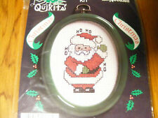 New listing Cross Stitch Kit - Ho Ho Santa Ornament - QuiKits- green frame included 1989 Nip