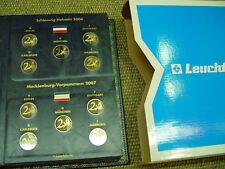 6 x 2 Euro Deutschland 2006 - 2011 Spiegelglanz PP im Leuchtturm-Album
