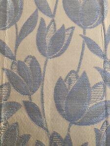 Curtain Sample Rem Fabric Blind Cushion Craft 65x90cm Cream / Babe Blue Tulip