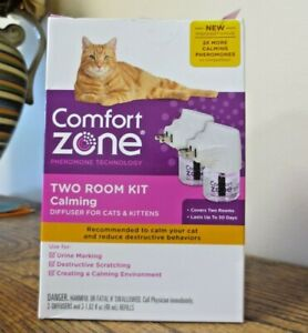 New! COMFORT ZONE Two Room Kit Calming Diffuser For Cats & Kittens (3506)