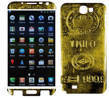 COQUE SAMSUNG GALAXY NOTE 2 EN RESINE 3D STICKERS REPOSITIONNABLE LINGO D'OR