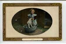 (Lp242-100)  Little Girl & Dog in a Tin Bath, Pals,  1909  Used, G