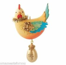 Hallmark 2013 Three French Hens Series Ornament Small Red Line on bottom of Box