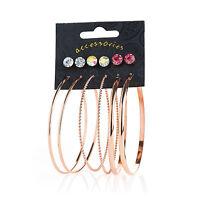 6 Pairs Rose Gold Stud and Hoop Ladies Earrings Fashion Jewellery
