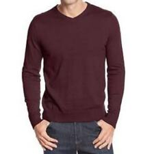 Neiman Marcus Exclusive 100% Wool Sweater Men Lightweight V Neck Burgundy XXL