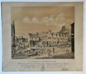 Original large print, lithograph, 1891, Waggoner's Inn, Northgate, Halifax