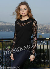 Top  Beautiful Black Long Sleeve Lace Top      Also In Red