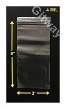 "3"" x 6"" Set 1000 Reclosable Resealable Ziplock Zip Lock Plastic 3x6 Bags 4 MiL"