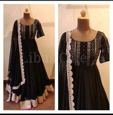 Indian Gown black colored Suit designer Anarkali pakistani Kameez dress