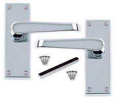 Victorian Chrome Silver Bathroom Handles and 64mm Bathroom Lock D18 DOOR PACK