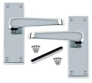 Door Handles Victorian Straight Polished Chrome 1 -15 sets Silver Latch Handle