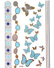 Flash Tattoo GOLD Metallic Tattoos Silber Türkis temporär Schmetterlinge W-364